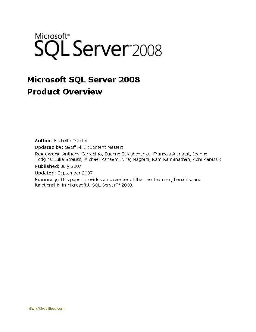Tài liệu Microsoft SQL Server 2008 Product Overview slide 1