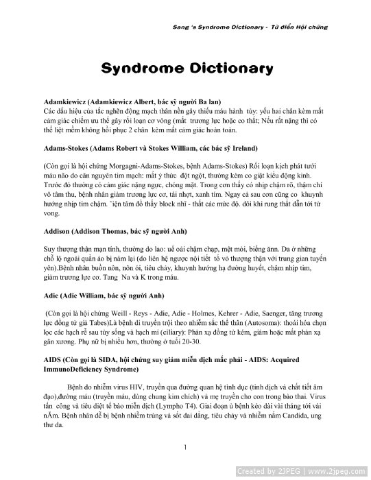 Syndrome dictionary