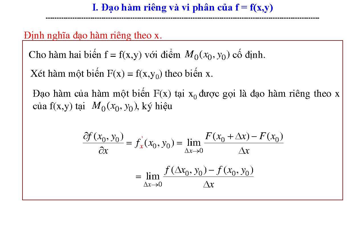 Tài liệu Bài tập có lời giải đạo hàm riêng và vi phân slide 3