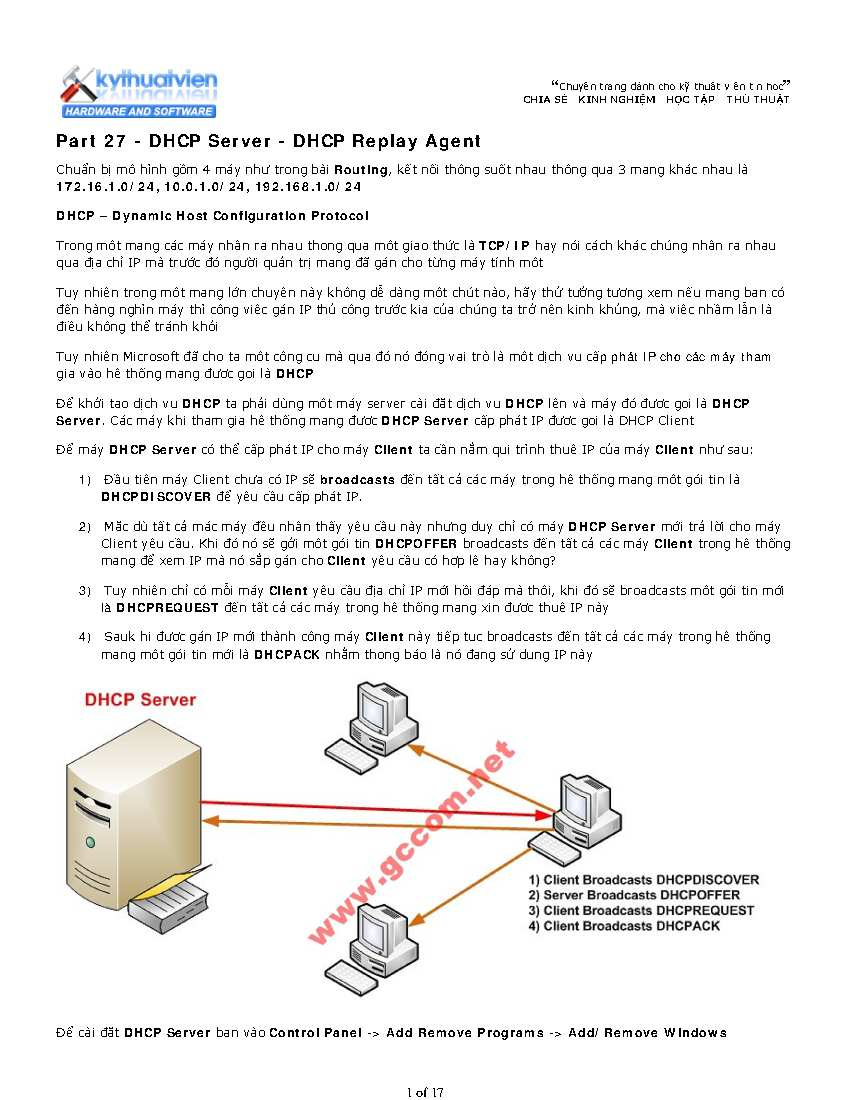 Cấu Hình DHCP Server - DHCP Replay Agent trong Windows server 2003
