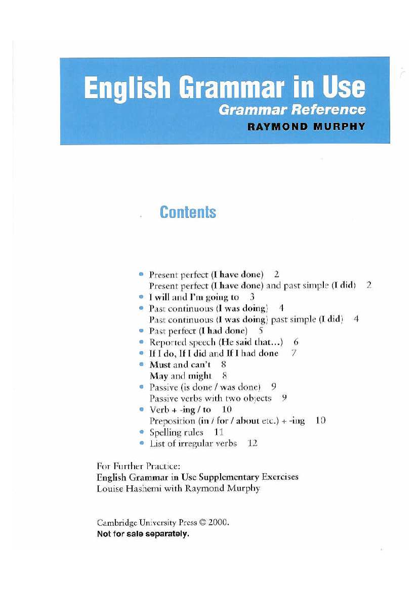 English Grammar In Use Reference