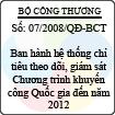 Quyết định số 07/2008/QĐ-BCT - Ban hành Hệ thống chỉ tiêu theo dõi, giám sát Chương trình khuyến công Quốc gia đến năm 2012 và Hệ thống tiêu chí, chỉ số đánh giá đề án, chương trình khuyến công
