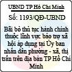 Quyết định 1193/QĐ-UBND - Về việc bãi bỏ thủ tục hành chính thuộc lĩnh vực bảo trợ xã hội áp dụng tại Ủy ban nhân dân phường - xã, thị trấn trên địa bàn thành phố Hồ Chí Minh