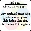 Thông tư 20/2012/TT-BYT - Quy chuẩn kỹ thuật quốc gia đối với sản phẩm dinh dưỡng công thức cho trẻ đến 12 tháng tuổi