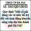 """Quyết định 2002/2013/QĐ-UBND - Quy định """"Một số nội dung chi và mức hỗ trợ đối với hoạt động khuyến nông trên địa bàn thành phố Hà Nội"""""""