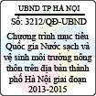 Quyết định 3212/2013/QĐ-UBND - Chương trình mục tiêu Quốc gia Nước sạch và vệ sinh môi trường nông thôn trên địa bàn thành phố Hà Nội giai đoạn 2013-2015