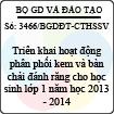 Công văn 3466/BGDĐT-CTHSSV - Triển khai hoạt động phân phối kem và bàn chải đánh răng cho học sinh lớp 1 năm học 2013 - 2014