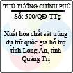 Quyết định 500/2013/QĐ-TTg - Xuất hóa chất sát trùng dự trữ quốc gia hỗ trợ tỉnh Long An, tỉnh Quảng Trị