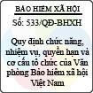 Quyết định 533/QĐ-BHXH - Quy định chức năng, nhiệm vụ, quyền hạn và cơ cấu tổ chức của Văn phòng Bảo hiểm xã hội Việt Nam