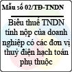 Mẫu số 02/TĐ-TNDN: Biểu thuế thu nhập doanh nghiệp tính nộp của doanh nghiệp có các đơn vị thủy điện hạch toán phụ thuộc - Mẫu khai thuế đối với thủy điện