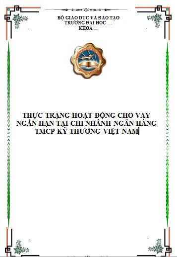 Thực trạng hoạt động cho vay ngắn hạn tại chi nhánh ngân hàng TMCP kỹ thương Việt Nam