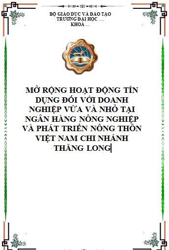 Hoạt động tín dụng đối với doanh nghiệp vừa và nhỏ tại ngân hàng nông nghiệp và phát triển nông thôn Việt Nam chi nhánh Thăng Long