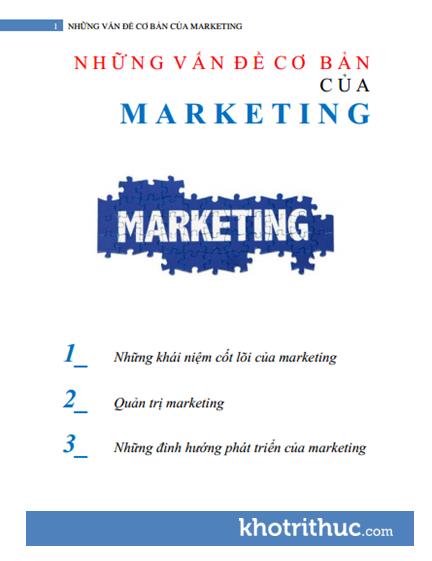 Những Vấn Đề Cơ Bản Của Marketing