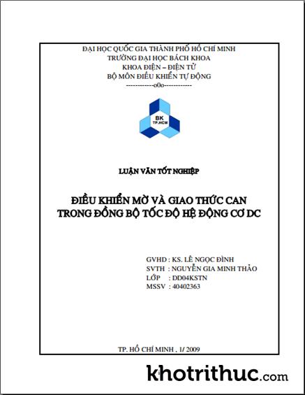 Luận Văn: Điều Khiển Mờ Và Giao Thức Can Trong Đồng Bộ Tốc Độ Hệ Động Cơ DC