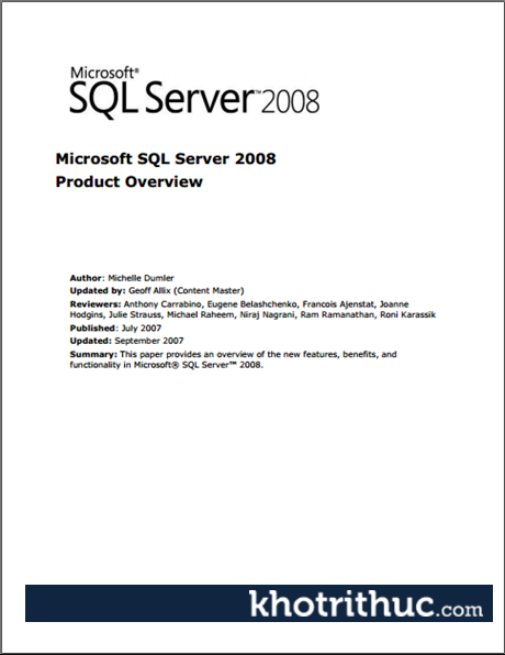 Microsoft SQL Server 2008 Product Overview