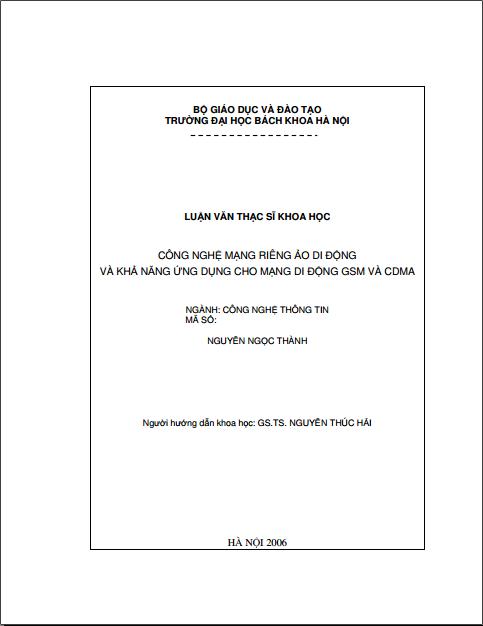Luận văn thạc sĩ khoa học: Công nghệ mạng riêng ảo di động và khả năng ứng dụng cho mạng di động GSM&CDMA