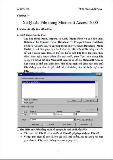 Giáo trình Microsoft Access