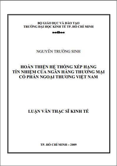 Luận văn thạc sĩ kinh tế: Hoàn thiện Hệ thống Xếp hạng tín dụng của Vietcombank