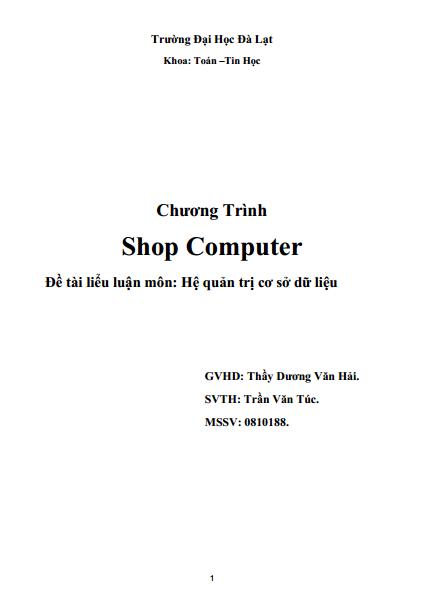 Shop Computer - Đề tài liểu luận môn: Hệ quản trị cơ sở dữ liệu